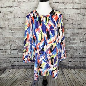 NYDJ Abstract Floral Henley Blouse Size XL
